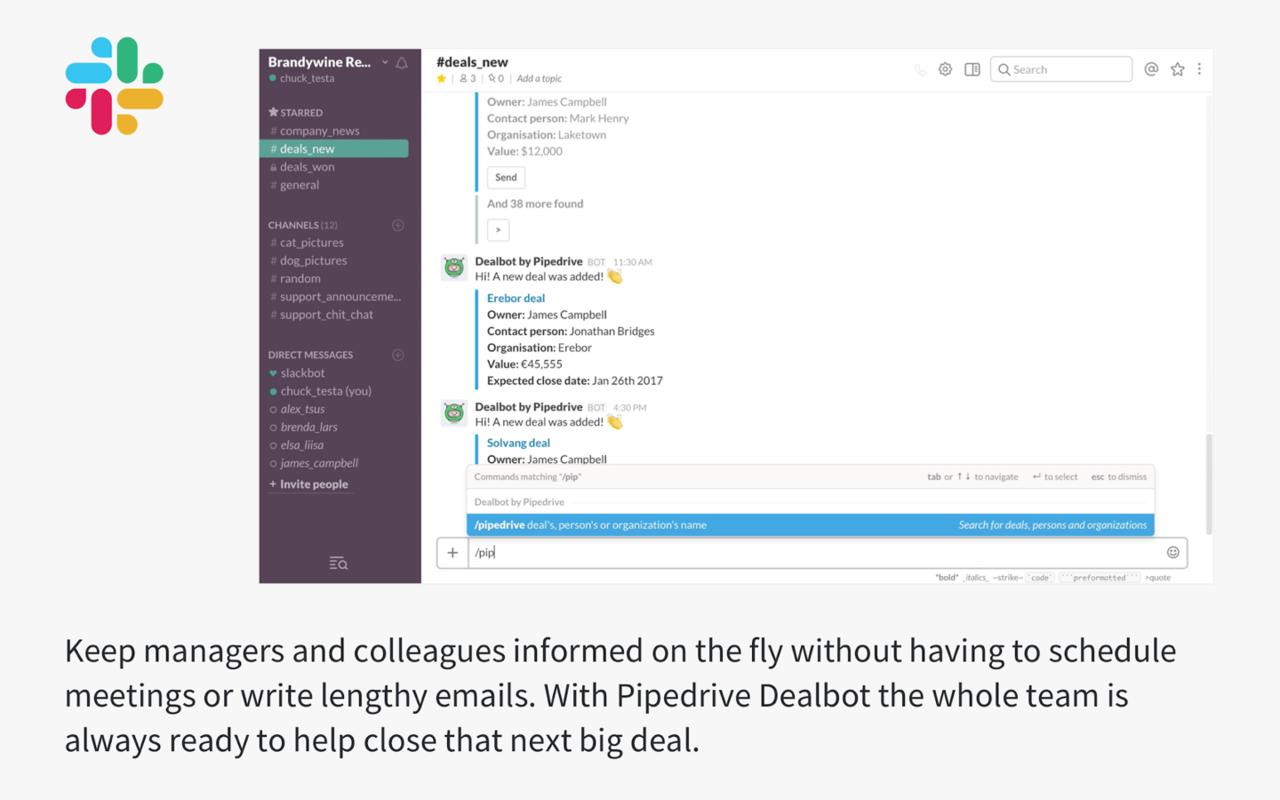 Dealbot for Slack App - Pipedrive Marketplace
