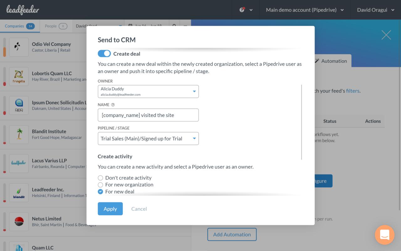Leadfeeder App - Pipedrive Marketplace